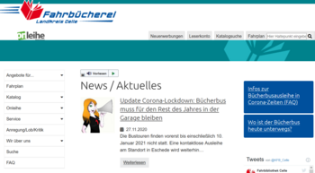 Screenshot Homepage Kreisfahrbücherei Celle